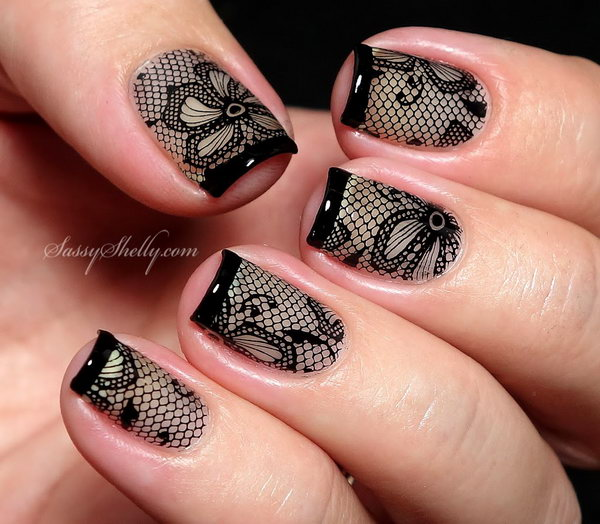 56 lace nail art - 60 Lace Nail Art Designs & Tutorials For You To Get The Fashionable Look