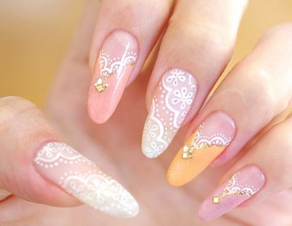 57 lace nail art - 60 Lace Nail Art Designs & Tutorials For You To Get The Fashionable Look
