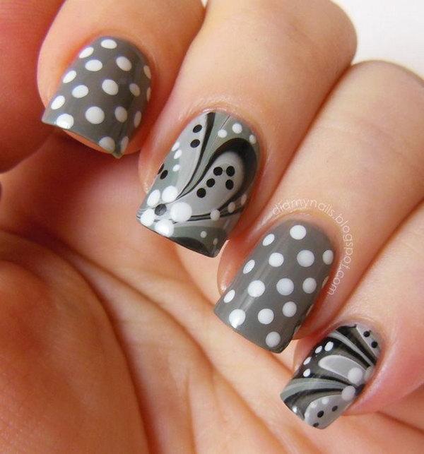 14 polka dots nail art designs - 50+ Stylish Polka Dots Nail Art Designs