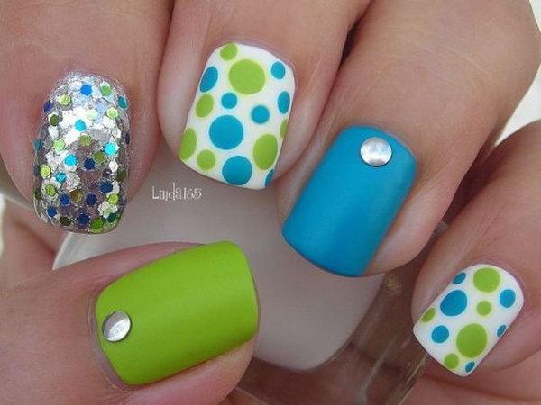 15 polka dots nail art designs - 50+ Stylish Polka Dots Nail Art Designs