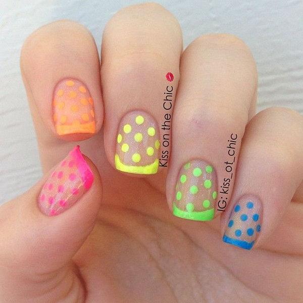 19 polka dots nail art designs - 50+ Stylish Polka Dots Nail Art Designs