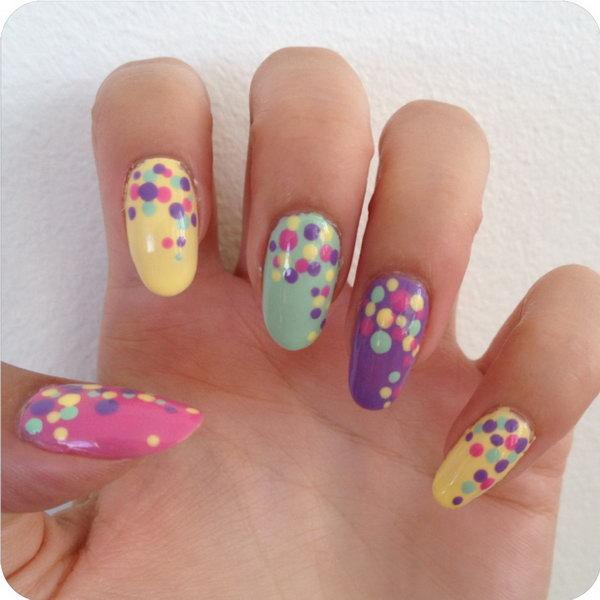34 polka dots nail art designs - 50+ Stylish Polka Dots Nail Art Designs