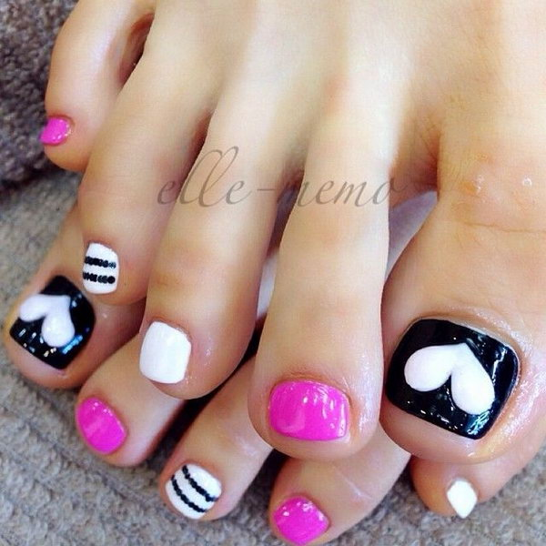 Black And White Toenail Design Accented With Heart Strips