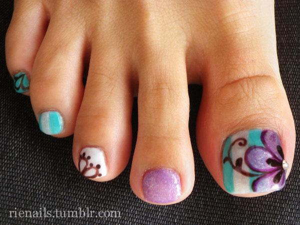 45 toe nail art designs - 60 Cute & Pretty Toe Nail Art Designs