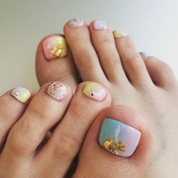 49 toe nail art designs - 60 Cute & Pretty Toe Nail Art Designs
