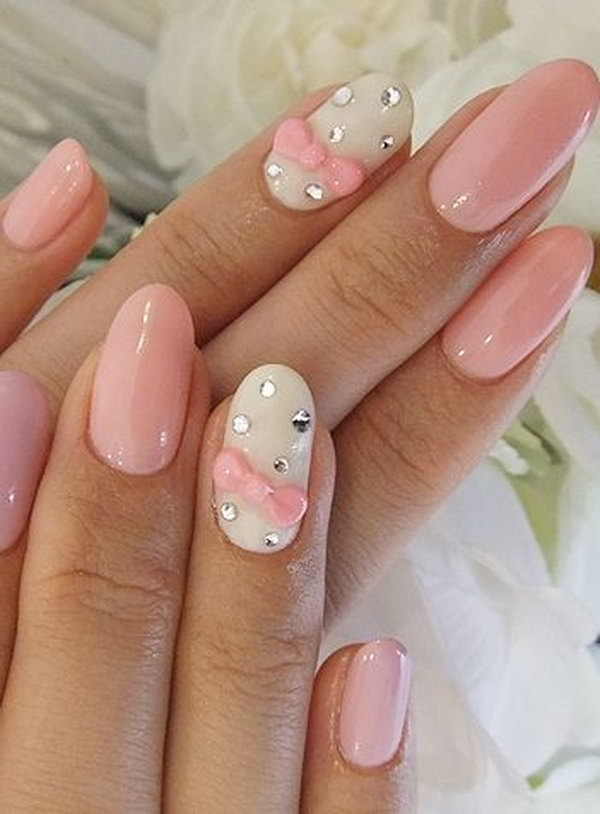 Wedding Nail Design With Pink Bows And Gems