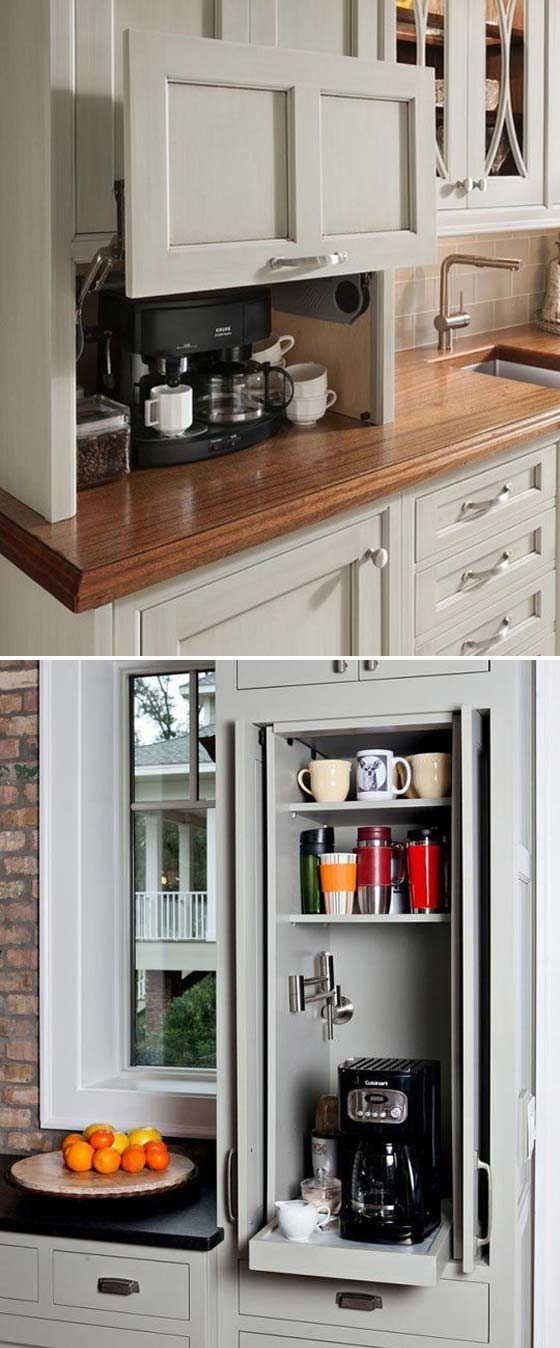 hide kitchen trash can fruit themed decor collection 15+ cool diy coffee station ideas