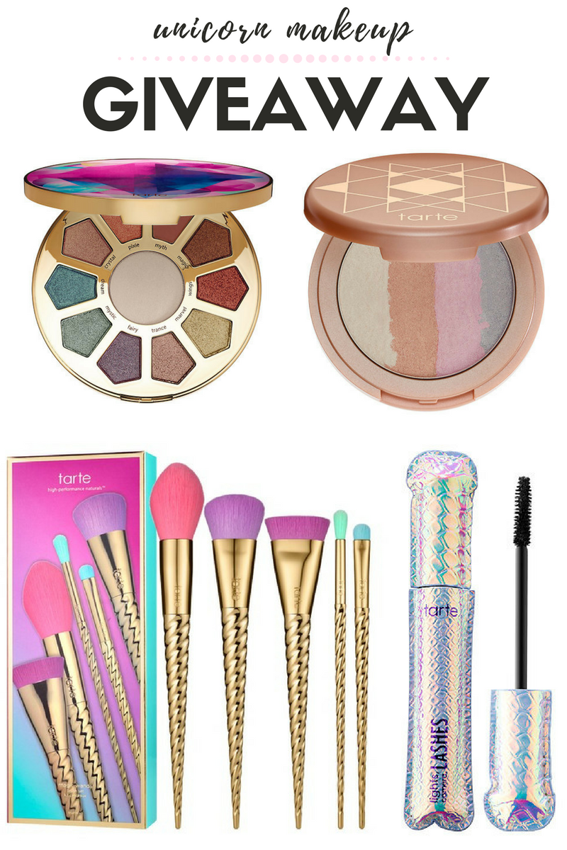 Unicorn makeup giveaway tarte unicorn brushes