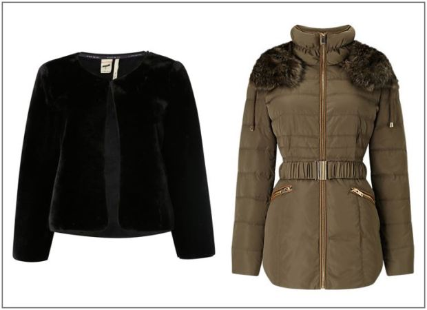 Persian jacket, £55, White Stuff, Khaki fur jacket, £139, Phase Eight.