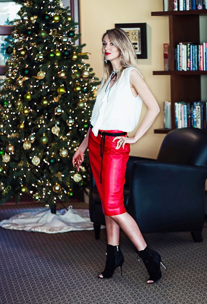 Red leather skirt white ruffle top statement rhinestone choker peeptoe booties outfit
