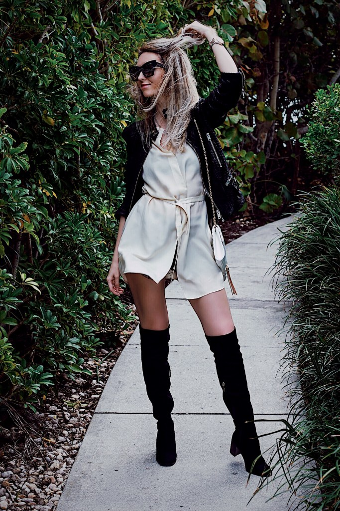 Black leather jacket silk top from diesel Zara over the knee boots