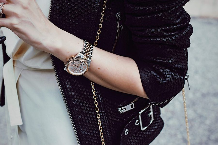 Details: Black leather jacket from Diesel, Michael Kors watch