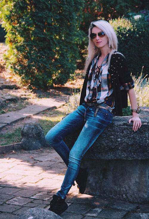 Stradivarius plaid shirt Zara pearl embellished cardigan Diesel jeans