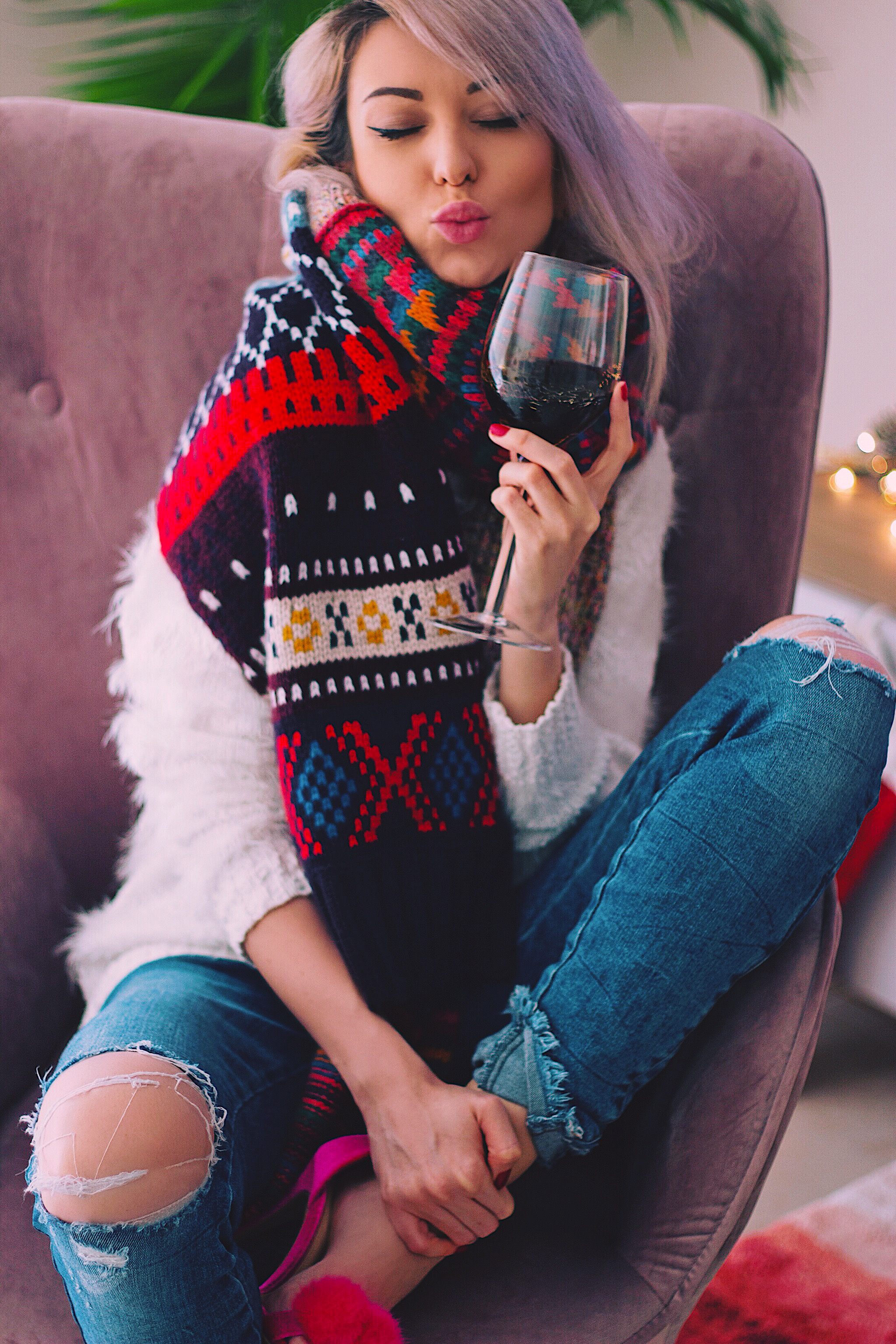 Red Wine Burberry Scarf Style Unsettled