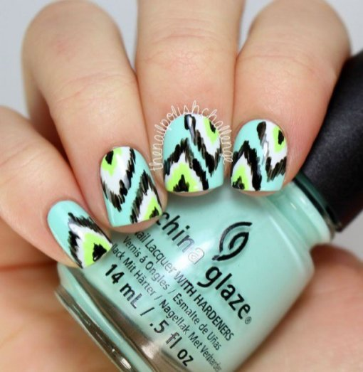 Beautiful Aztec Nail Art Designs For Young Girls 14