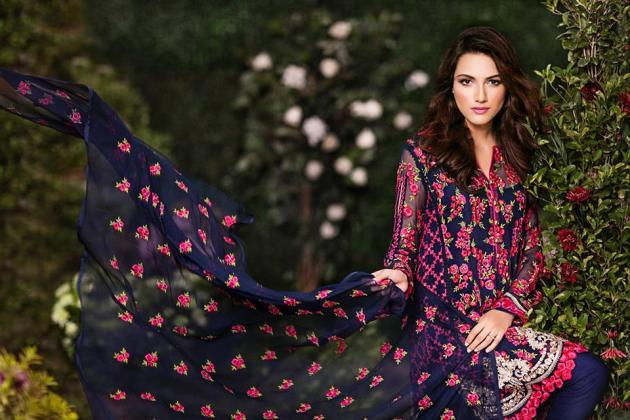 Embroidered Chiffon Shirts Eid Wear By Mina Hassan 2015-16