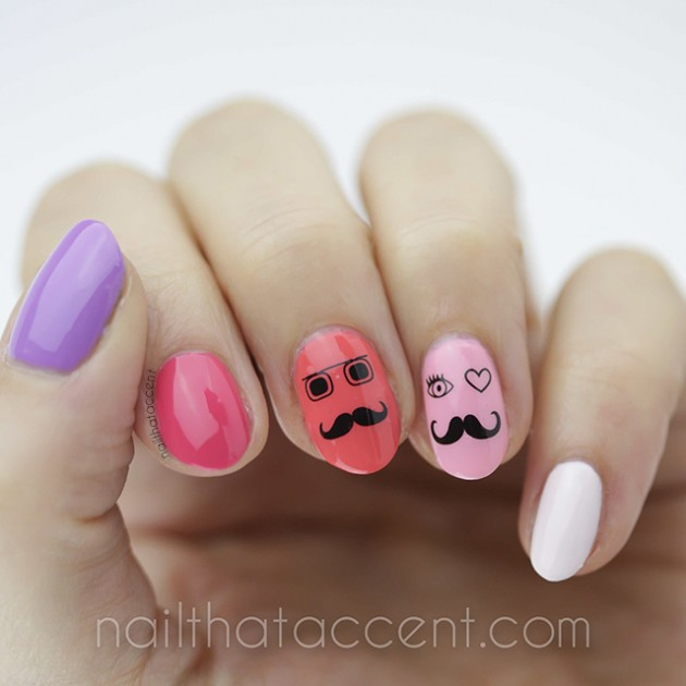 Mustache nail design ideas to try this season prinsesfo Image collections
