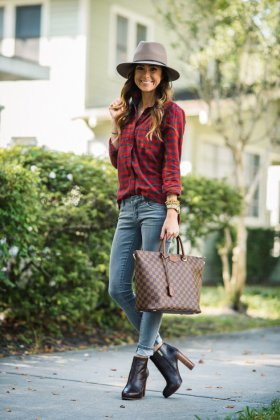 red plaid shirt in winter