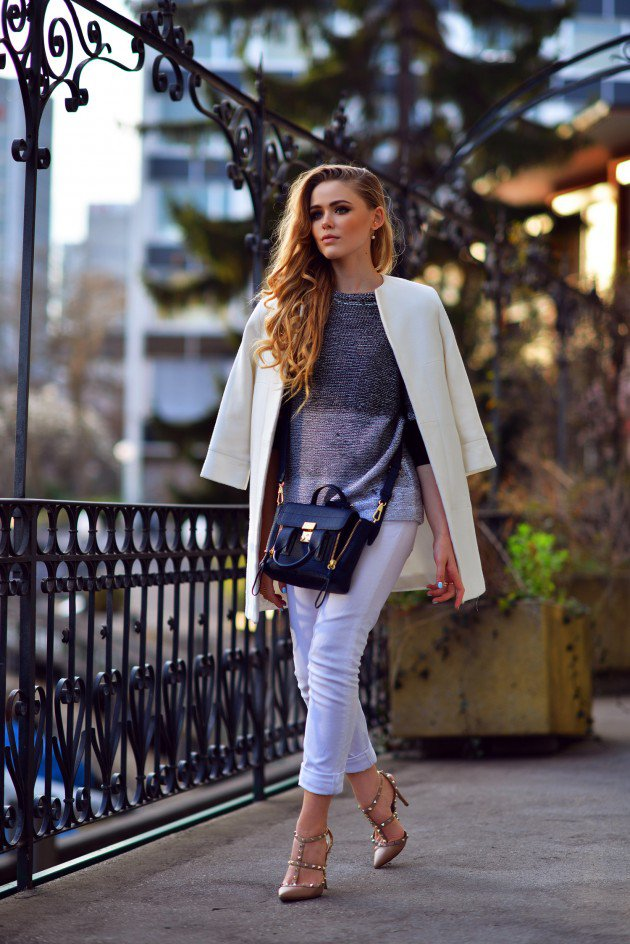 winter white coat outfit ideas