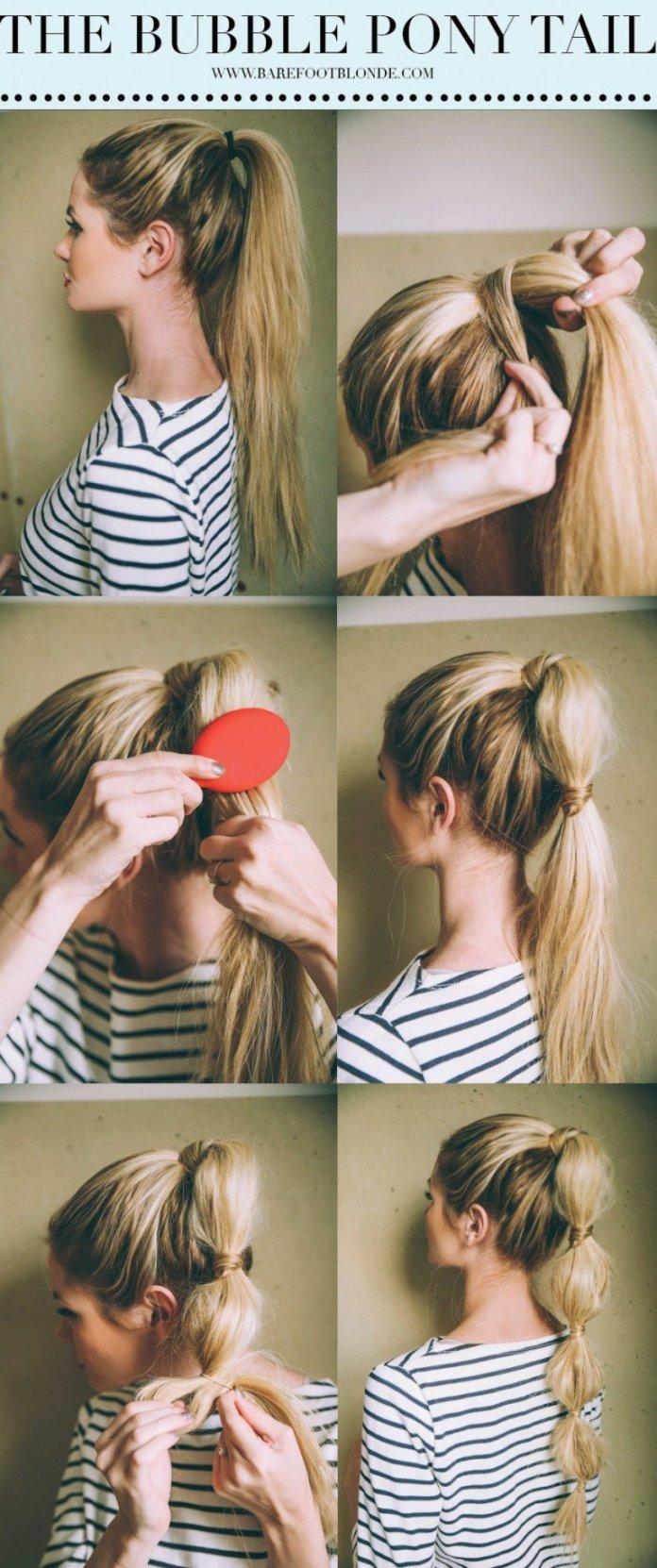 Bubble pony tail hair tutorial