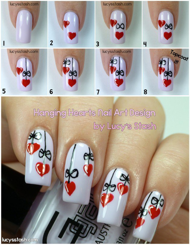 Nail designs with step by step tutorials valentine nail designs with step by step tutorials prinsesfo Choice Image
