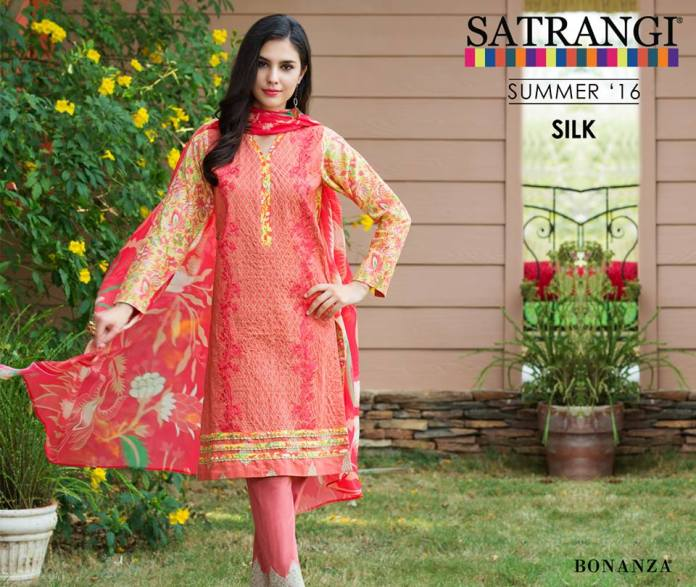 Bonanza Silk Party Wear Dresses Satrangi Collection 2016
