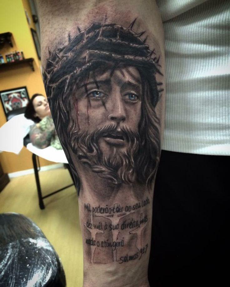 Jesus Half Sleeve Tattoo : jesus, sleeve, tattoo, Sleeve, Jesus, Tattoos, Lower, Stylevore