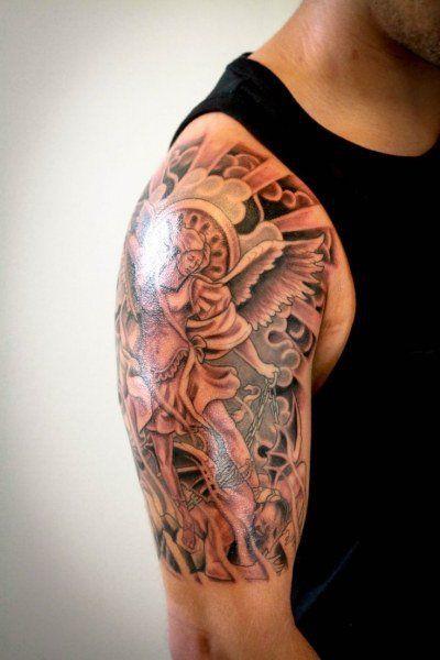 Angel Half Sleeve Tattoo : angel, sleeve, tattoo, Trendy, Guardian, Angel, Religious, Tattoos, Sleeve, Tattoo, Stylevore