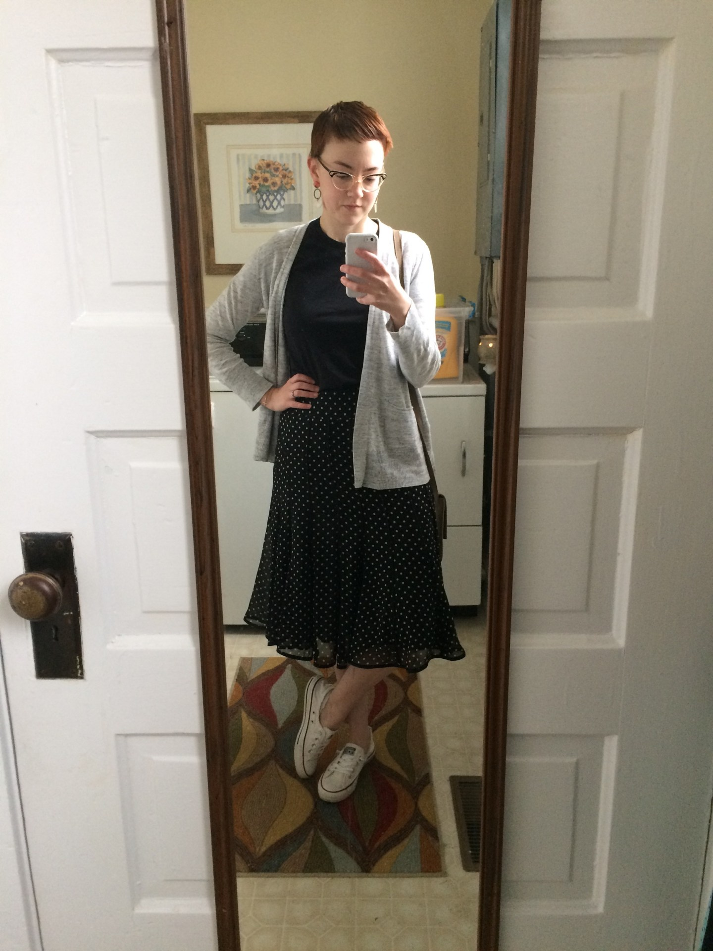 Outfit Three: Tee -  Everlane Crew Neck ; Skirt, Cardigan, and Shoes - thrifted; Earrings - c/o  ABLE