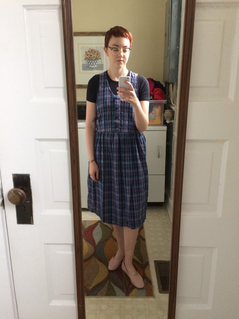 Outfit Four: Dress - thrifted; Tee -  Everlane Pima Cotton ; Shoes -  Everlane Day Glove