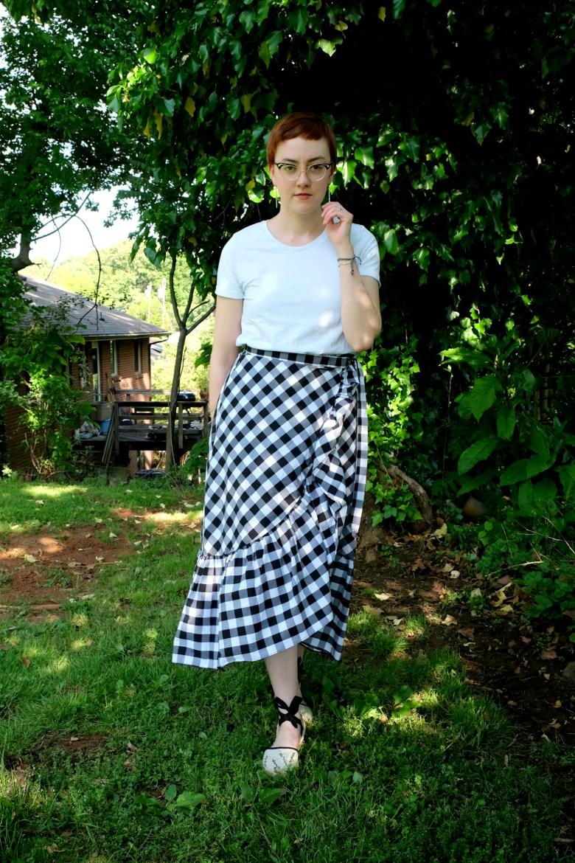 Ethical Details: Tee - c/o  Organic Basics ; Earrings & Cuff - c/o  Fair Anita ; Shoes - secondhand via  Thredup ; Skirt -  similar