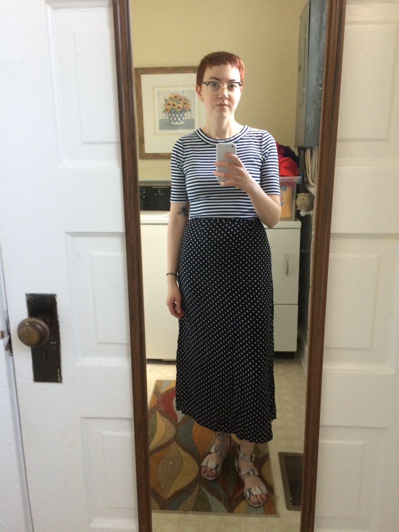 Outfit Five: Tee and Skirt - thrifted; Sandals - c/o  ABLE