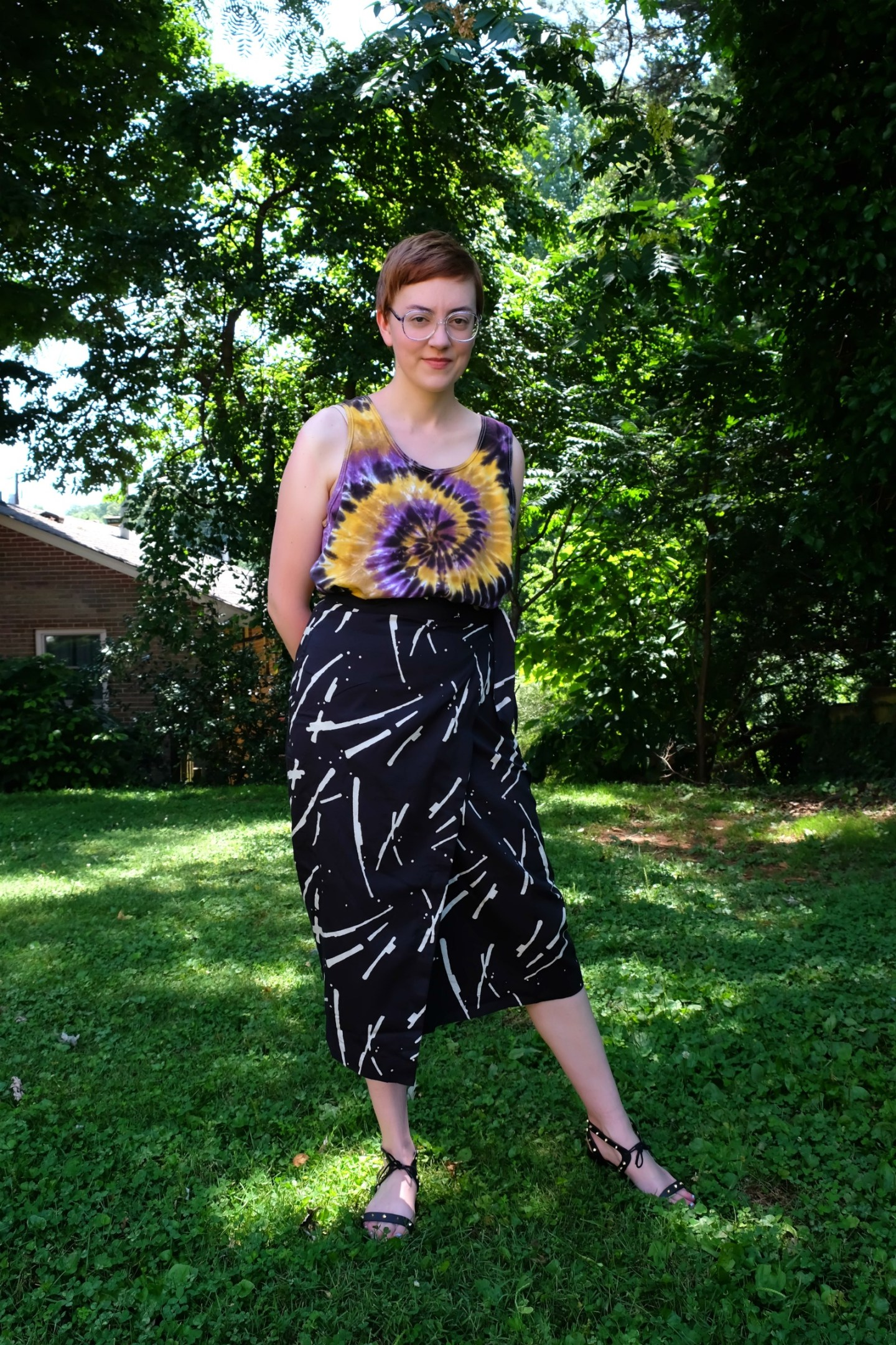 Ethical Details - Tank Top - thrifted; Skirt - c/o  MATTER ; Sandals -  Melissa ; Nose Stud - c/o  Metal Lotus