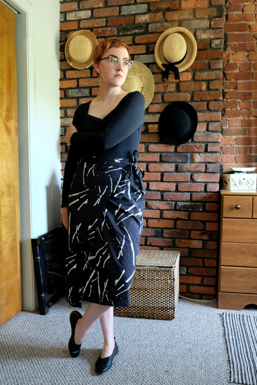 Outfit Details:  Bodysuit  - Everlane;  Shoes  - Everlane; Skirt - c/o  MATTER Prints