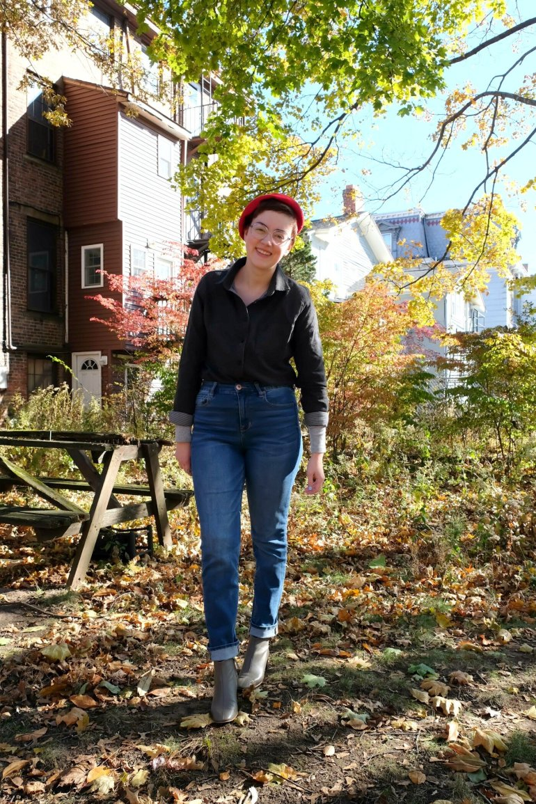 Details (Affiliate Links here and below): Flannel - c/o  Tradlands ; Jeans -  American Eagle ; Boots -  Everlane Day Boot ; Beret - thrifted, vintage
