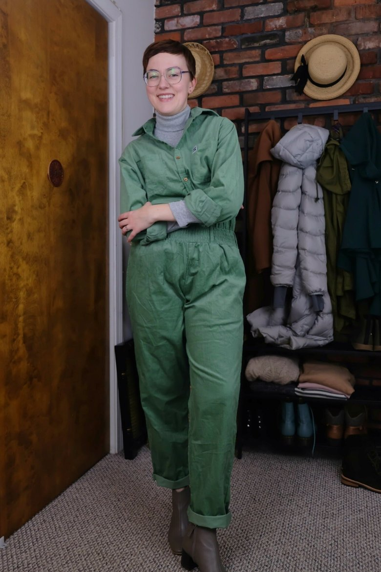 Details:  Lucy & Yak Boilersuit ,  Everlane Boots