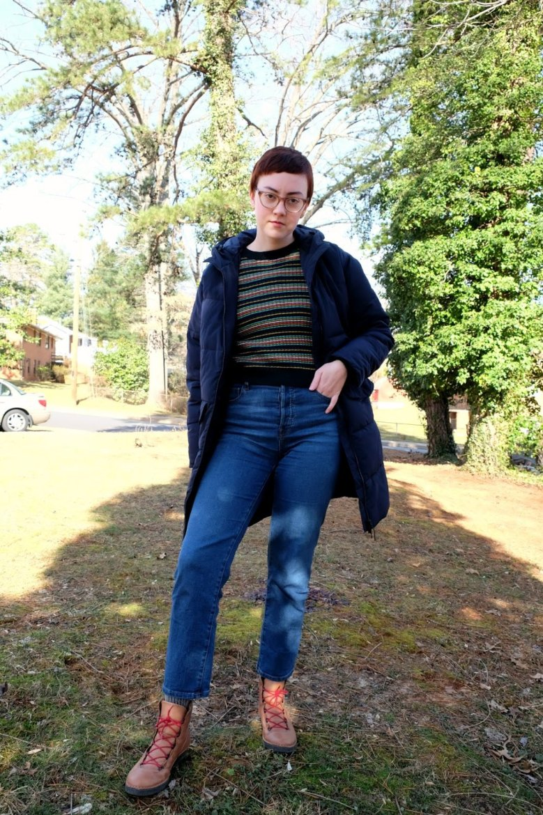 ethical outfit 1980s inspired striped sweater and everlane puffer stylewise-blog.com