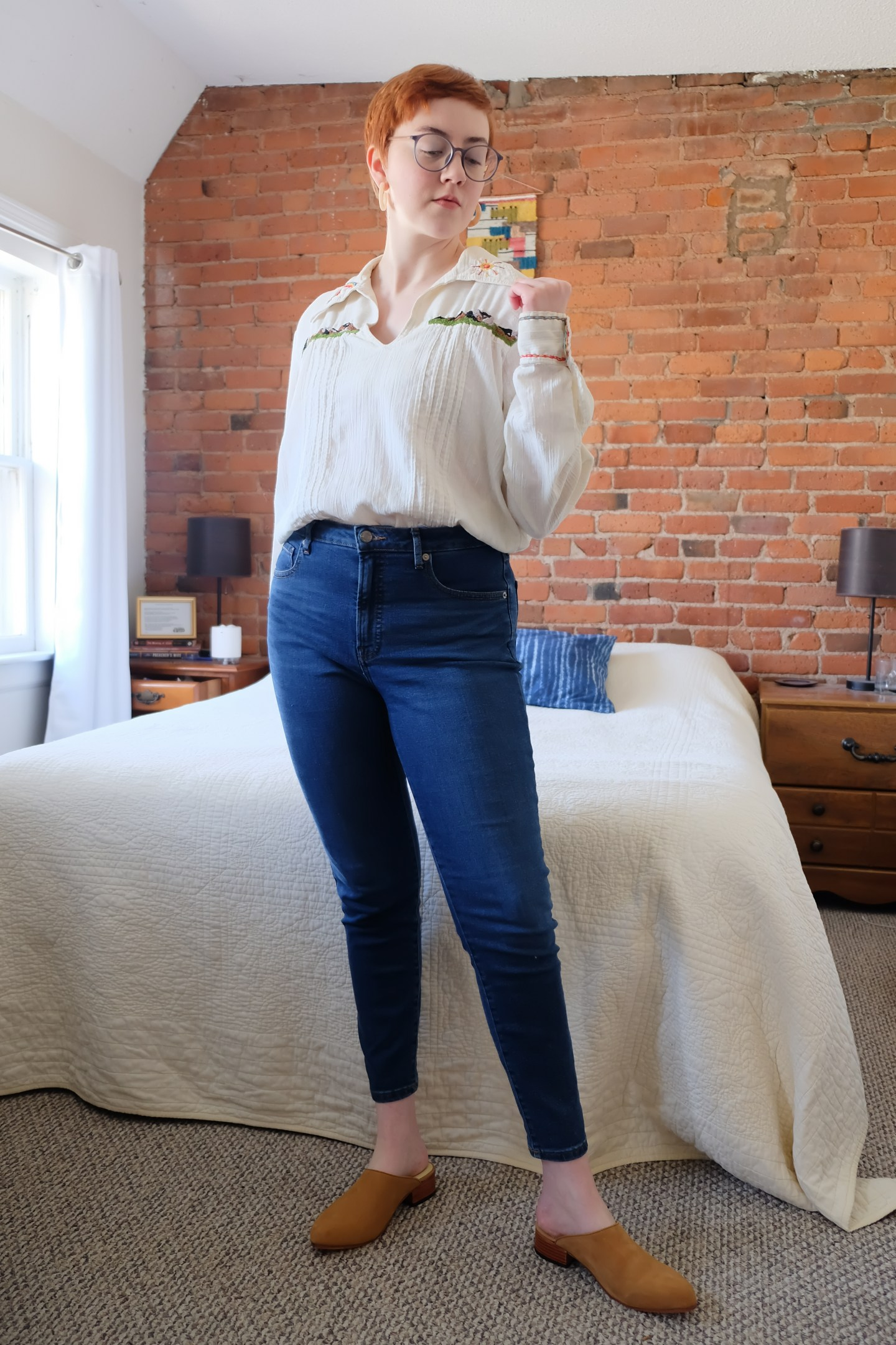 Everlane Curvy Fit Denim Embroidered Blouse
