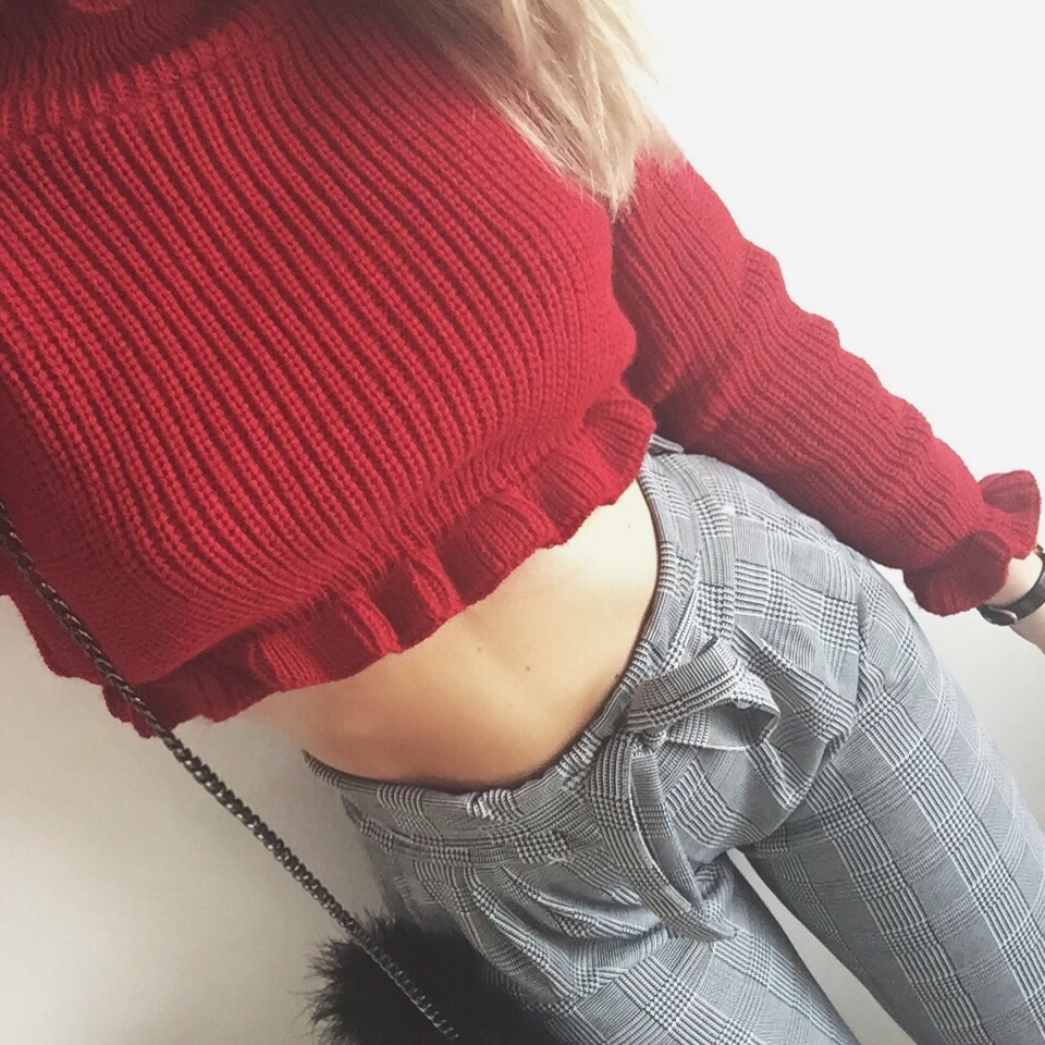 red crop jumper, checked paperbag trousers