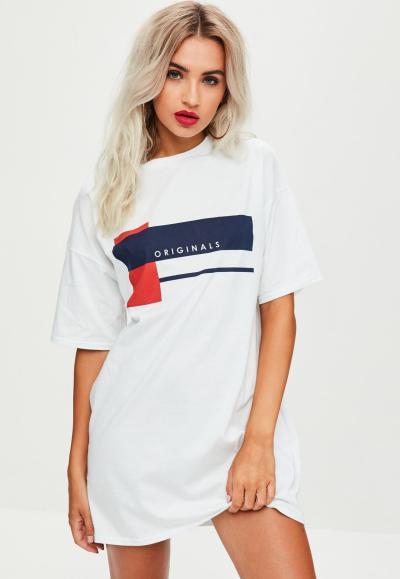 Missguided White Originals Oversized T Shirt Dress