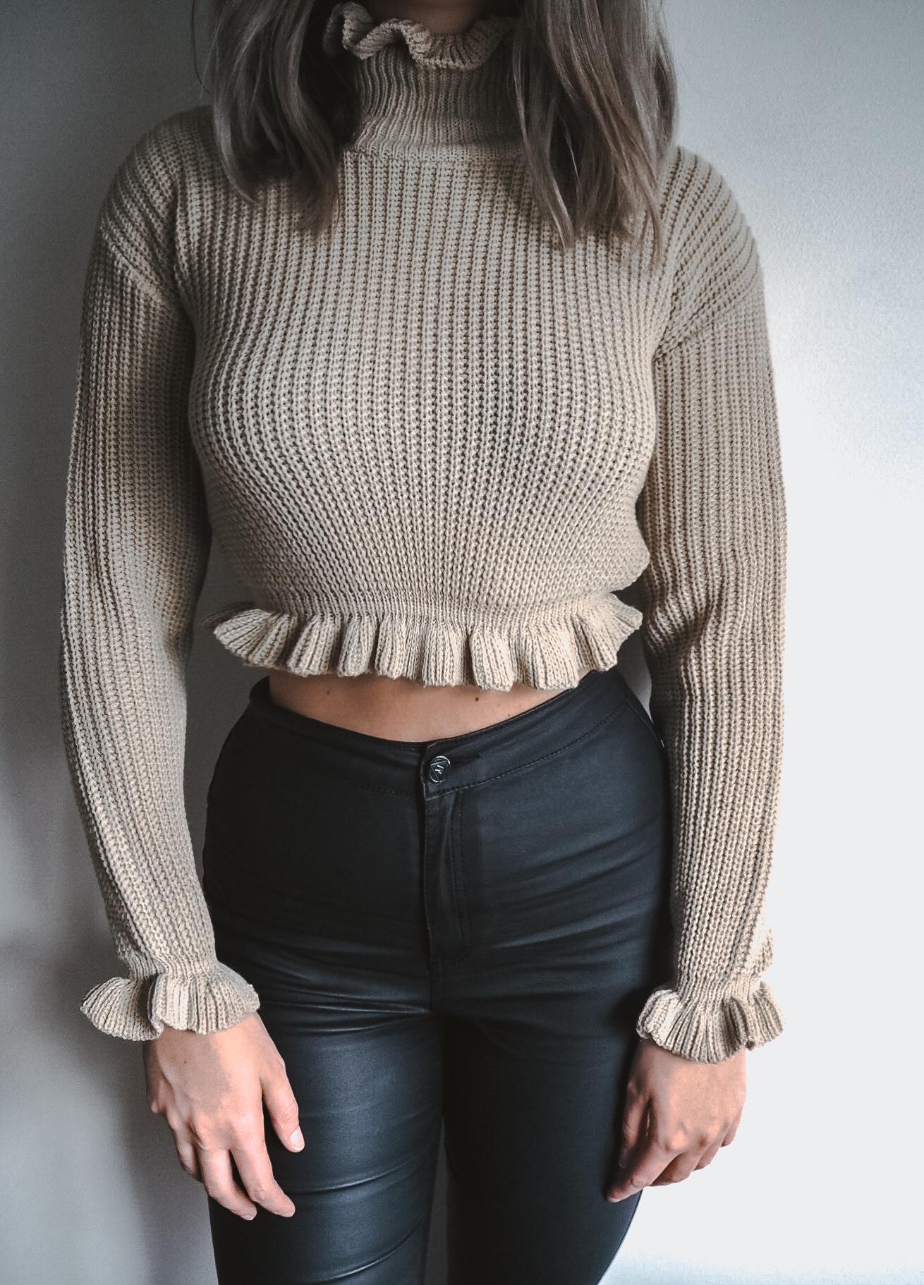 jumper, knitwear, fashion blogger, stone ruffle hem jumper, femme luxe