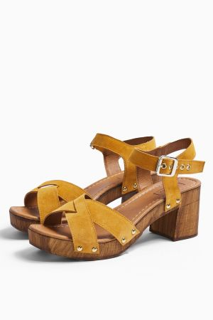 Mustard Leather Clog Shoes