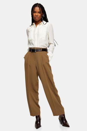 Khaki Slouch Peg Trousers