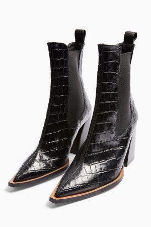 Leather Black Crocodile Boots