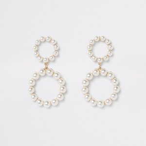 Pearl Double Ring Drop Earrings