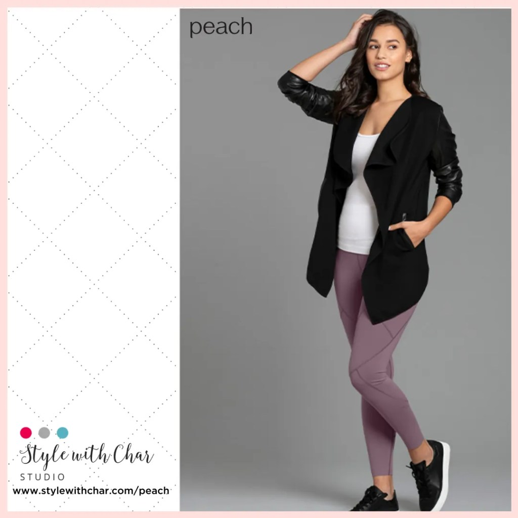 Black jacket with white tank and amethyst leggings