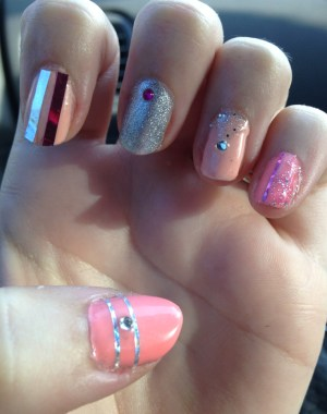 Blinged Out Girly Pink Nails Feature Image