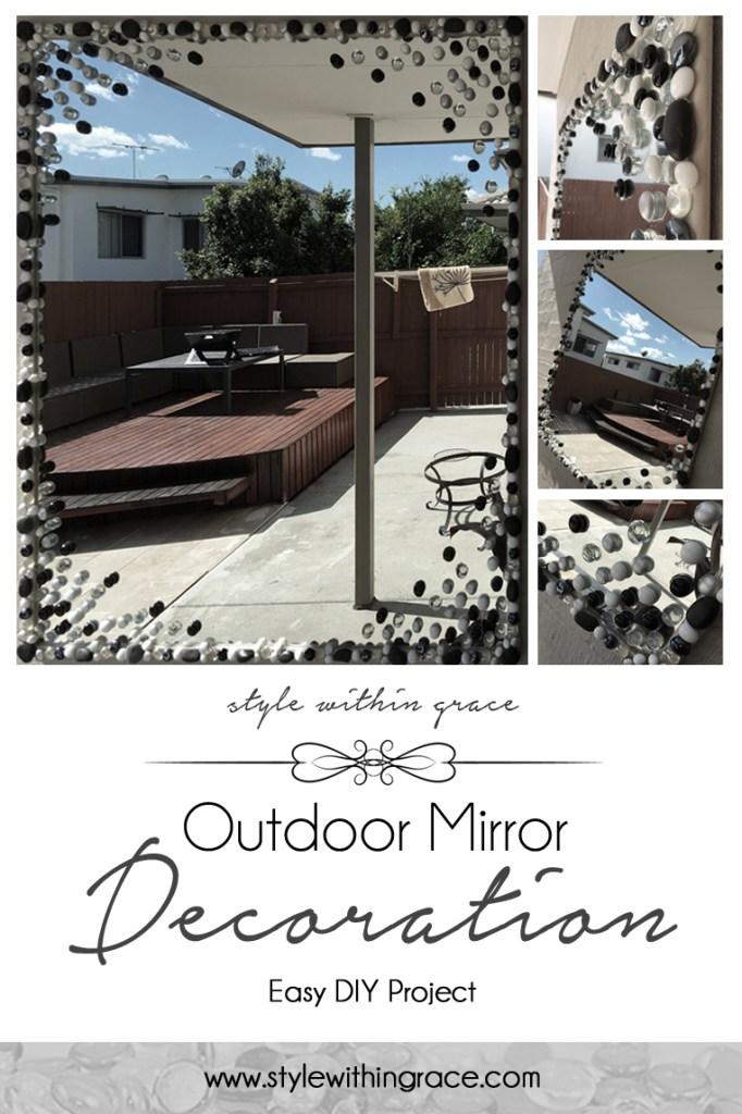 Glass Stone Outdoor Mirror Decoration DIY