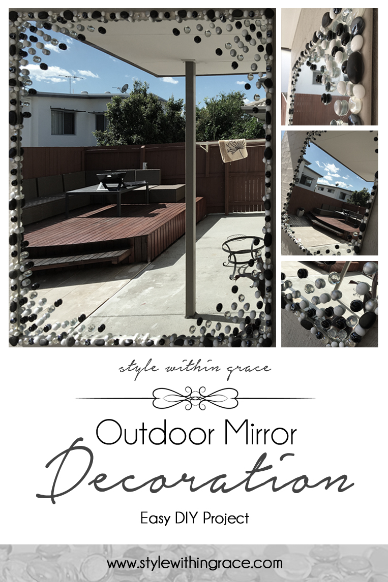 A simple and easy home decor DIY project upcycle to turn an old mirror into a work of art. Make your own glass stone outdoor mirror with these step by step instructions.