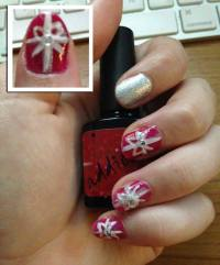 Red and Silver Christmas Present Nails - Style Within Grace